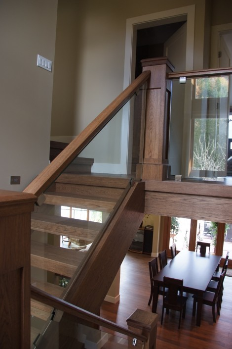 Floating Hickory Hardwood Stairs