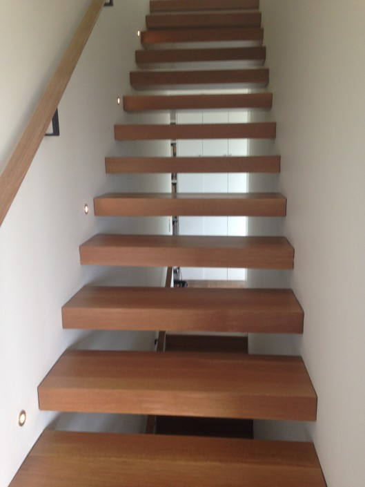 Floating White Oak Hardwood Stairs