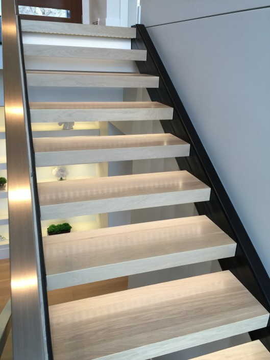 White Oak Hardwood Stairs with LED Lighting