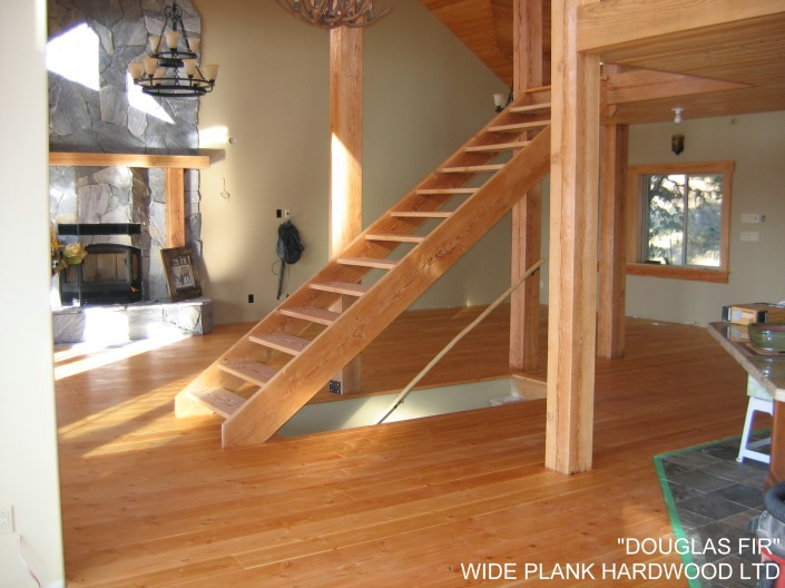 Floating Douglas Fir Hardwood Stairs