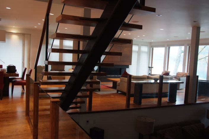Custom Wide Plank Hardwood Floating Stair Treads