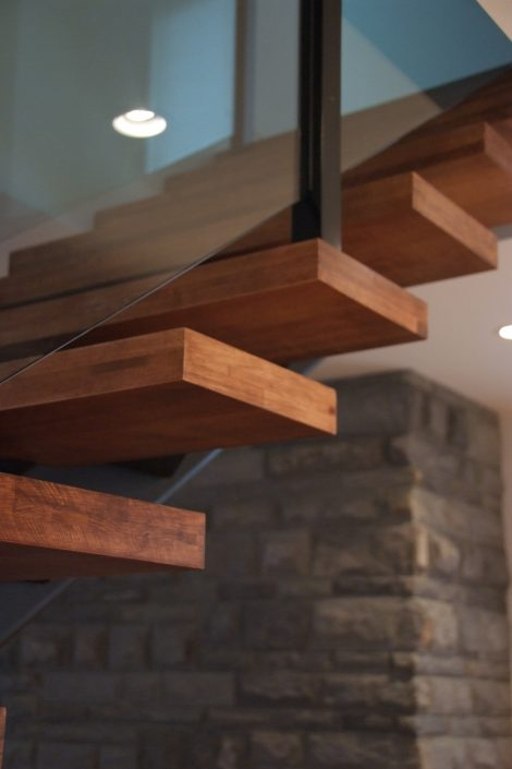 Custom Wide Plank Hardwood Floating Stair Treads