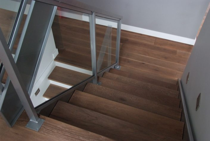 Custom White Oak Hardwood Flooring and Stairs - Vancouver