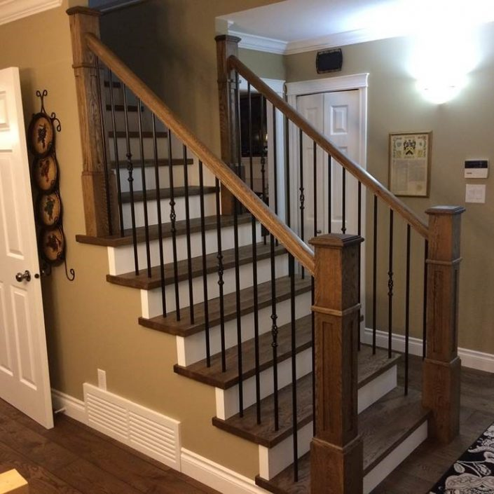 White Oak Hardwood Stairs and Newel Posts