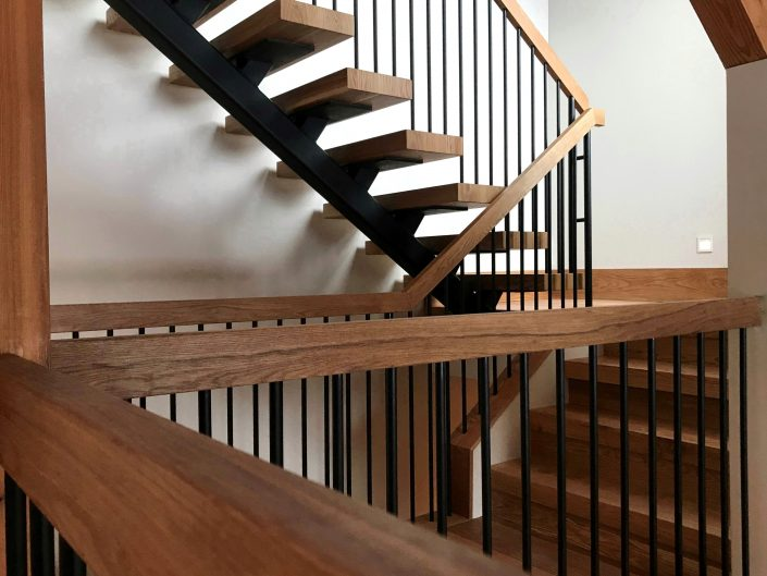 Custom White Oak Floating Treads and Handrails