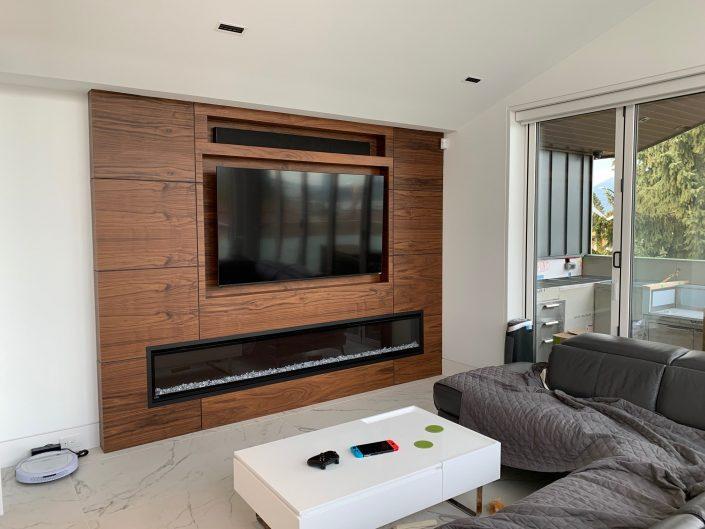 Black Walnut - Feature Wall - Fireplace Tv Reveal Panel