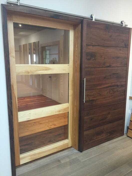 Hickory and Black Walnut Hardwood Barn Doors