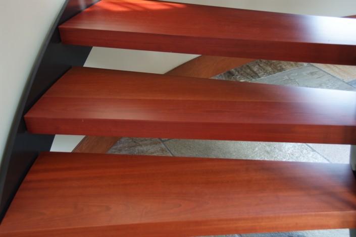 Floating Brazilian Cherry Hardwood Stairs