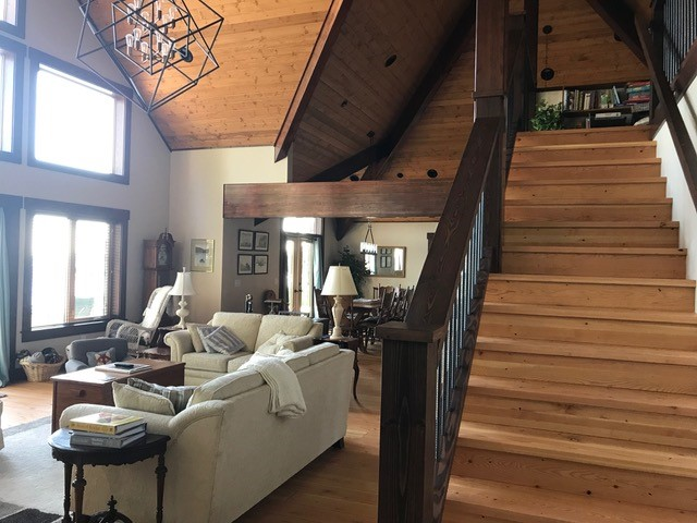 Natural Douglas Fir Stair Treads, beams and ceiling paneling